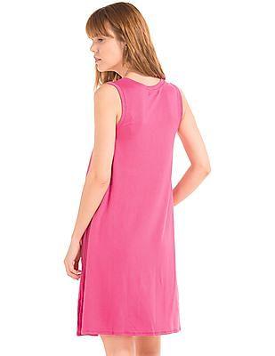 GAP Women Pink V-Neck Swing Dress