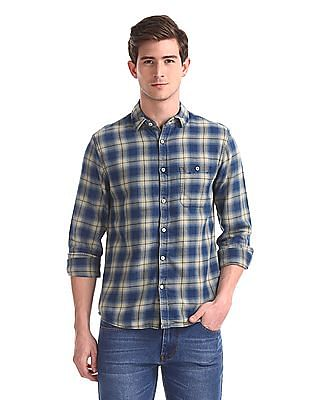 Cherokee Green Rounded Cuff Check Shirt