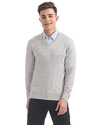Arrow Heathered V-Neck Sweater