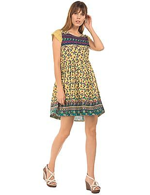 Bronz Cap Sleeve Printed Fit And Flare Dress