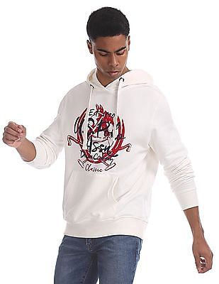 U.S. Polo Assn. White Printed Hooded Sweatshirt