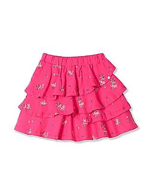 Cherokee Pink Girls Tiered Floral Print Skirt