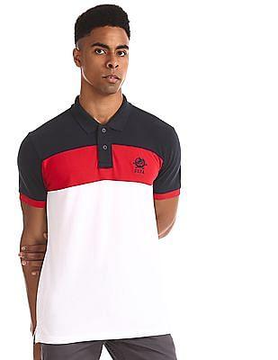 U.S. Polo Assn. White Colour Block Pique Polo Shirt