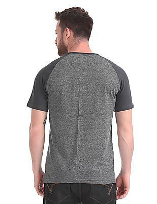Cherokee Heathered Raglan Sleeve Henley T-Shirt