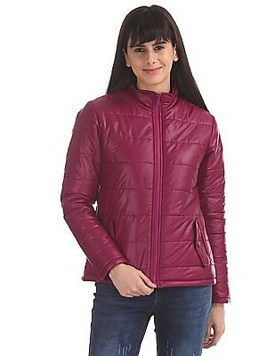Flying Machine Women Purple Solid Puffer Jacket