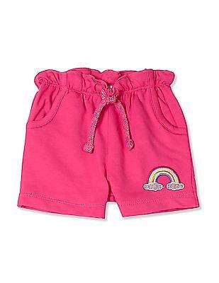 Donuts Pink Girls Ruffled Waist Knit Shorts