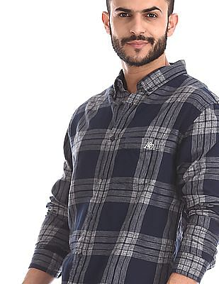 Aeropostale Blue Button Down Collar Check Shirt