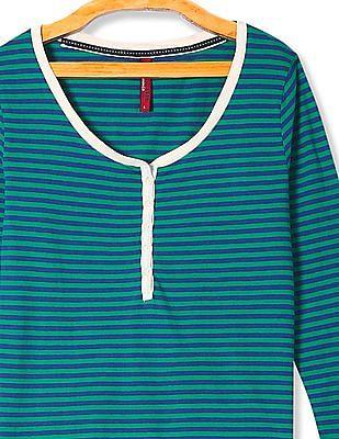 U.S. Polo Assn. Women Striped Long Sleeve Top