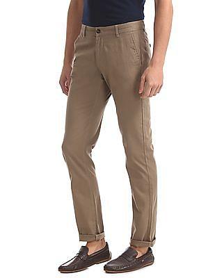 Arrow Sports Slim Fit Textured Trousers