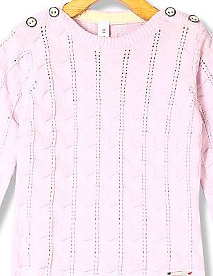 U.S. Polo Assn. Kids Girls Patterned Knit Crew neck Sweater
