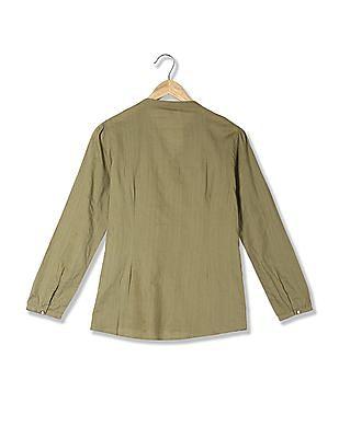 U.S. Polo Assn. Women Mandarin Collar Patterned Weave Top