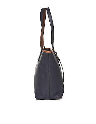 U.S. Polo Assn. Women Contrast Strap Textured Tote Bag