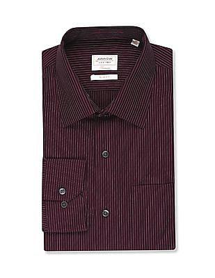 Arrow Purple French Placket Vertical Stripe Shirt