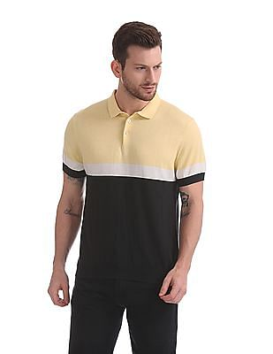 Flying Machine Colour Blocked Knit Polo Shirt