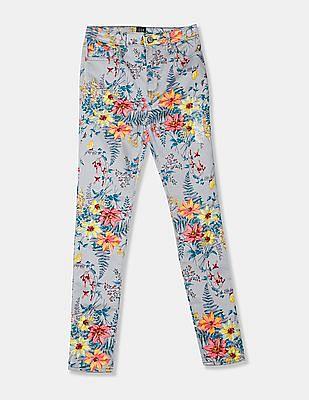 GAP Grey Girls Floral Print Jeggings