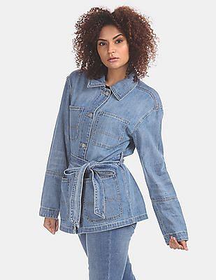 GAP Women Blue Stone Wash Belted Denim Jacket