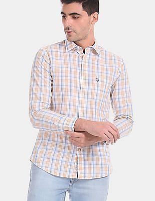 U.S. Polo Assn. Men Yellow And White Check Cotton Shirt