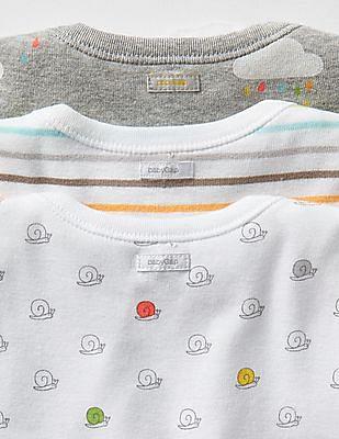 GAP Baby White Rainy Day Bodysuit - Pack Of 3