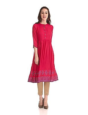 Anahi Mandarin Neck Patterned Kurta