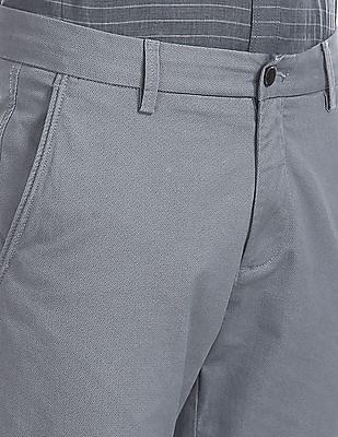 Arrow Sports Grey Chrysler Slim Fit Printed Trousers