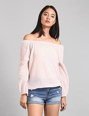 GAP Women Pink Crinkle Stripe Off Shoulder Top