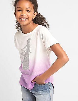 GAP Girls White Disney Embellished Hi-Lo Tee