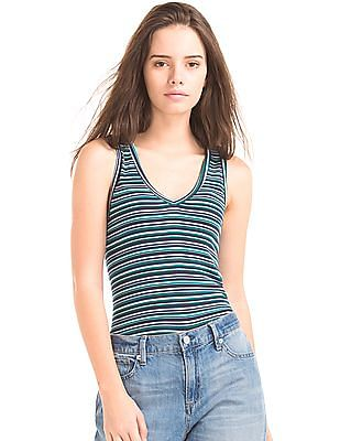 GAP Ribbed V-Neck Stripe Tank