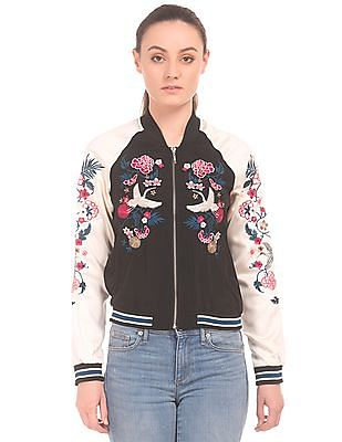 Aeropostale Colour Block Embroidered Bomber Jacket
