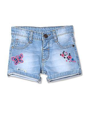 Donuts Girls Stone Washed Denim Shorts