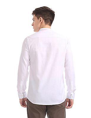 Excalibur Mandarin Collar Patterned Shirt