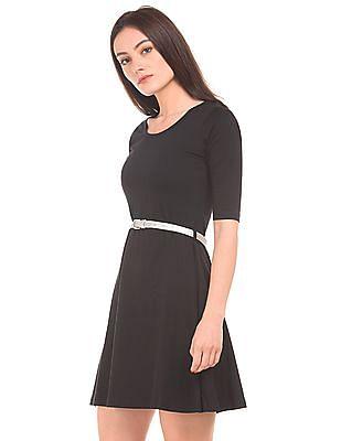 SUGR Belted Cotton Skater Dress