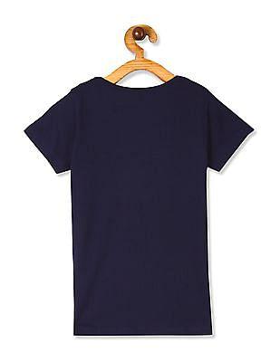 Cherokee Blue Girls Front Print Cotton T-Shirt