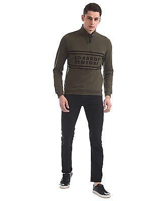 Ed Hardy Slim Fit Printed Zip Up Sweatshirt