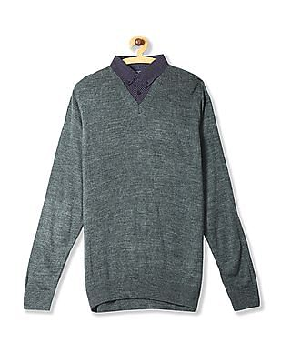 Ruggers Green Collared Inset Solid Sweater