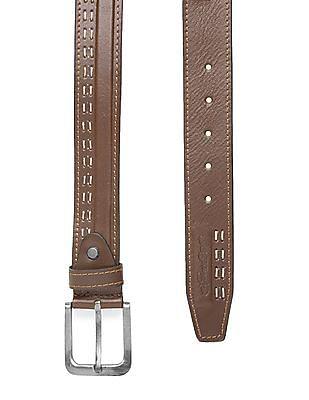 Ed Hardy Contrast Stitch Leather Belt