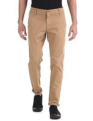 Ruggers Brown Modern Slim Fit Solid Trousers