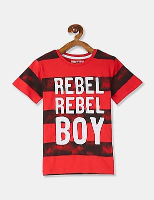FM Boys Red Crew Neck Printed T-Shirt