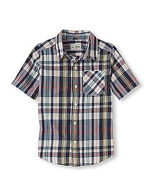 The Children's Place Boys Short Sleeve Plaid Shirt