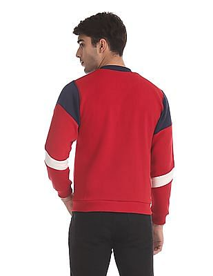 Flying Machine Red And Navy High Neck Colour Block Sweatshirt