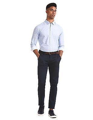 Flying Machine Blue Printed Slim Fit Shirt