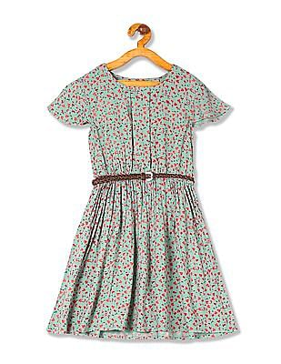 Cherokee Girls Floral Print Belted Dress