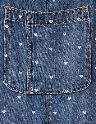 GAP Girls Heart Print Denim Short Overalls