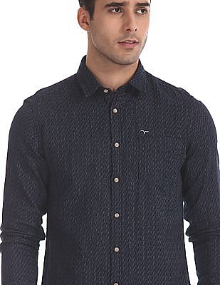 Flying Machine Blue Spread Collar Patterned Weave Shirt