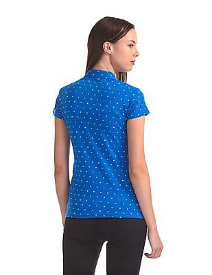 Flying Machine Women Short Sleeve Dot Print Polo Shirt