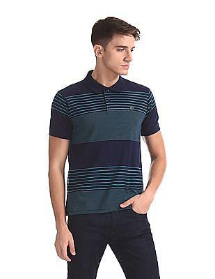 Ruggers Blue Regular Fit Striped Polo Shirt