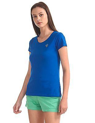 Flying Machine Women Short Sleeve Round Neck T-Shirt