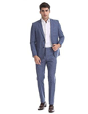 Arrow Blue Body Tailored Regular Fit Patterned Check Suit