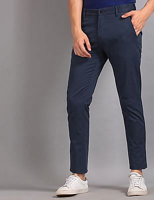 True Blue Blue Slim Fit Solid Trousers