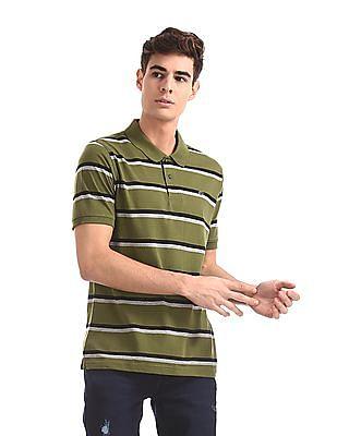 Ruggers Green Ribbed Hem Striped Polo Shirt
