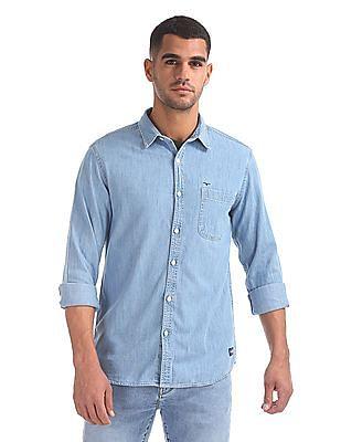 Flying Machine Spread Collar Distressed Denim Shirt